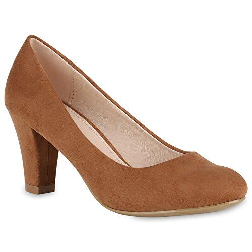 Stiefelparadies Damen Klassische Pumps Basic Schuhe Mid Heels Wildleder-Optik 150684 Hellbraun 40 Flandell