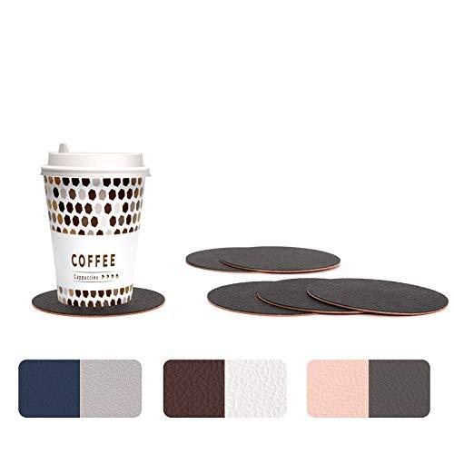 WOLTU Untersetzer rund zweifarbig aus PU Leder, 6er Sets Tischuntersetzer in Schwarz+Terrakotta (Farbe wählbar), Glasuntersetzer beidseitig nutzbar für Gläser, Bar usw, Ihre Tisch vor Flecken schützen