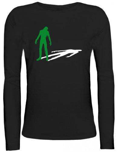 Shirtstreet24, ZOMBIE SHADOW, Halloween Zombies Lady / Girlie Longsleeve Langarm T-Shirt , Größe: S,schwarz - Shadow Langarm-shirt