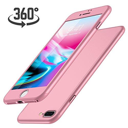 Rote Rosen Iphone (iPhone 7 Plus Hülle, mit [1 x Panzerglas Schutzfolie], Luckydeer iPhone 7 Plus Handyhülle [360 Grad Komplett Schutz], iPhone 7 Plus Hülle Rose Gold [Ultra Dünn] Cover Case Hülle für iPhone 7 Plus (Rose Gold 5,5 Zoll))