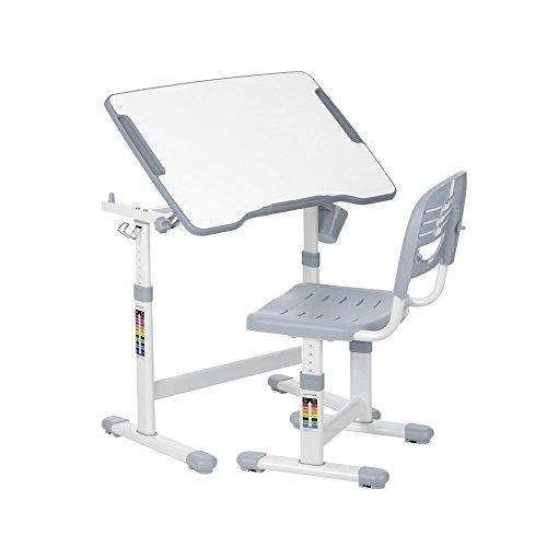 IKAYAA Table de Dessin et Chaise pour Enfants Hauteur Réglable 0-40 ° Tiltable Activité des Enfants Ensemble de Table Artistique Station de Travail Métal Cadre Gris