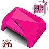 Morpilot 36W Lampada Unghie UV LED Dryer Diamante CCFL UV Manicure/Pedicure Asciugatrice Unghie con Timer, per un Uso Domestico e Professionale di Bellezza o Salone di Bellezza (Rosa)