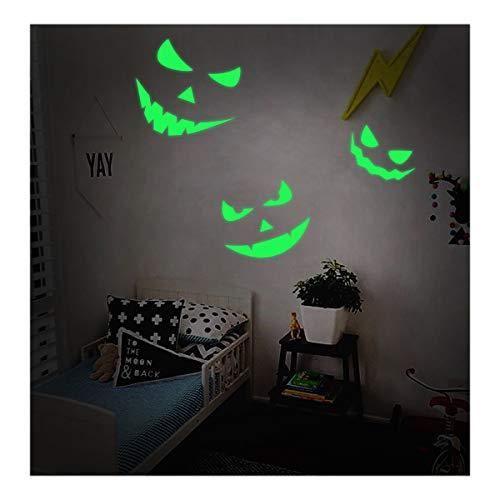 Lamdgbway Halloween Glühen im dunklen Aufkleber Abnehmbare PVC Luminous Wandaufkleber Leuchtstoff Wohnkultur Mauer Aufkleber Wandtattoos (3pcs Teufel Lächelt)