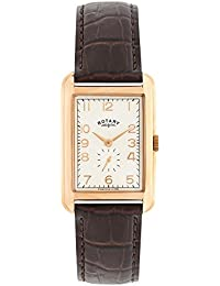 eef4250704cc Rotary Men s Quartz Watch with White Dial Analogue Display and Brown Leather  Strap GS02699 01