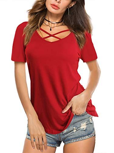 Schöne Bluse (Beluring Damen T-Shirt Kurz Ärmel Elegant Lace Top Blusen Schöne Oberteile Sommer,Rot M)