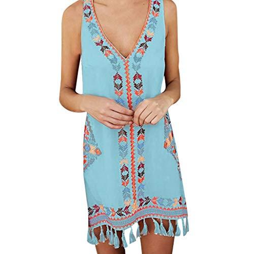 AIni Damen Sommerkleid Mode Beiläufiges Böhmen Quaste Lässige Print Sleeveless Strand Minikleid Festlich Partykleid