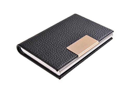 Visitenkartenetui / -halter aus hochwertigem Edelstahl und Bycast Leder, für 19-21 Visitenkarten, Farbe: schwarz, Mod. 4114-01 (DE)