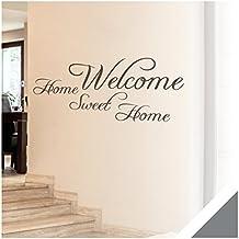 Exklusivpro Wandtattoo Spruch Wand-Worte Welcome Home Sweet Home inkl. Rakel (wrt03 silbergrau) 120 x 53 cm mit Farb- u. Größenauswahl