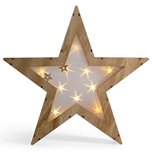 SnowEra LED Dekoleuchte in warmweiß | Holzstern mit 10 LEDs | Weihnachtsbeleuchtung für innen | Stern mit Holygram | Weihnachtsdeko aus Holz FSC 100{194ffc7ba2cd433dae595e4a48dab9d61eb998883949aa52c685c111e191e91f}