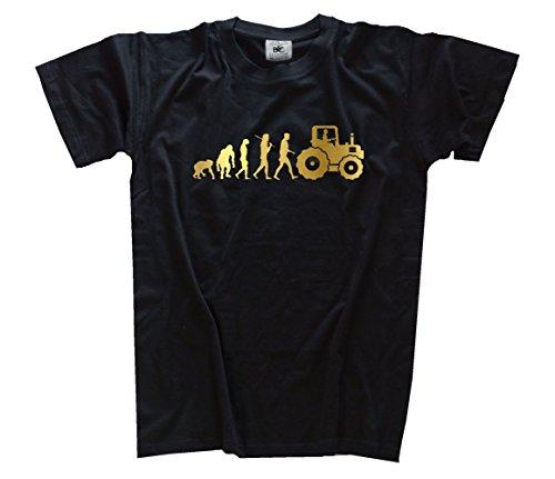 Gold-traktor (Gold Edition Traktor Traktorist Landwirt Evolution Kids Shirt Kinder-Shirt Schwarz 146)