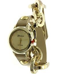 Geneva Reloj de cadena de piel sintética para mujer HUESO/dorado
