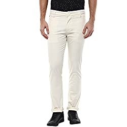 Spykar Mens Ivory White Slim Fit Mid Rise Trousers (Rico) (30)