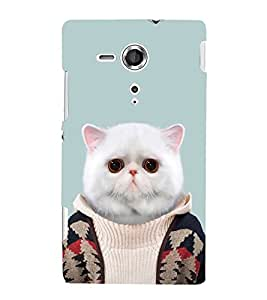Fuson Designer Back Case Cover for Sony Xperia SP :: Sony Xperia SP HSPA C5302 :: Sony Xperia SP LTE C5303 :: Sony Xperia SP LTE C5306 (Cat Sweater Fluffy Cat Fat Cat Pet Cat)