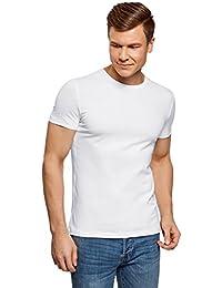 oodji Ultra Hombre Camiseta Sin Etiqueta Básica de Algodón