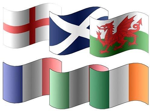 Sechs 6Nations Rugby Flagge & Wimpelkette Pack–England Schottland Irland Wales Irland Italien Flaggen ideal für Sport Vereine Kneipen Schulen Büro (Pack Rugby)