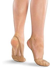 Danshuz Girls Light Tan Freedom Half Sole Leather Upper Ballet Shoes S-XL