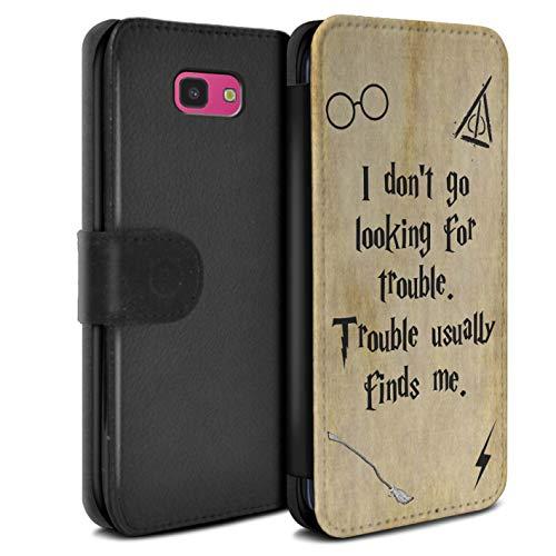 eSwish PU-Leder Hülle/Case/Tasche/Cover für Samsung Galaxy J4 Plus 2018 / Trouble Finds Me Muster/Schule der Magie Film Zitate Kollektion (Magie Brieftasche)