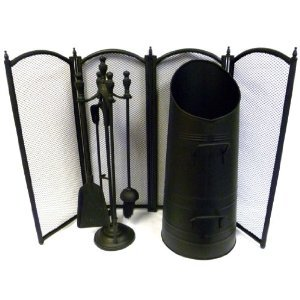 Inglenook, Black Fireside Set Guard, Bucket & Companion Set