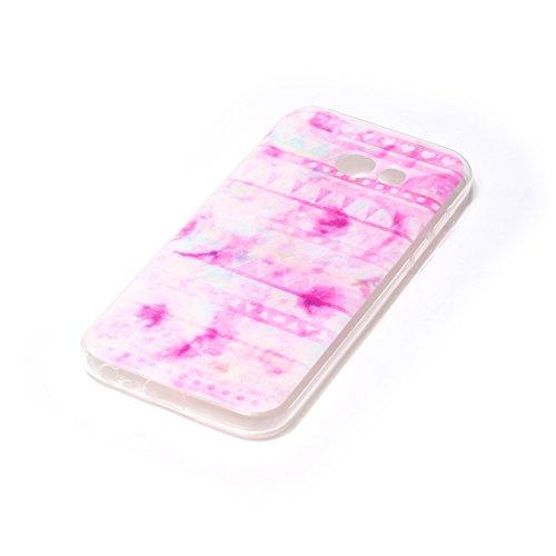 FESELE Silikon Handy Hülle für [Samsung Galaxy A5 2017], Durchsichtig Ultradünn TPU Handytasche für Samsung Galaxy A5 2017 Bunt Malerei Muster Transparente Schutzhülle Weiches Silikon Tasche Hüllen Rü Rosa Tribal Tringel
