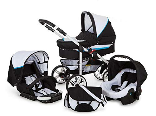SaintBaby Stroller Pram Pushchair 2in1 3in1 Set All in one Baby seat Buggy X-Move GO White & Pink 3in1 with Baby seat SaintBaby 3in1 or 2in1 Selectable. At 3in1 you will also receive the car seat (baby seat). Of course you get the baby tub (classic pram) as well as the buggy attachment (sports seat) no matter if 2in1 or 3in1. The car naturally complies with the EU safety standard EN1888. During production and before shipment, each wagon is carefully inspected so that you can be sure you have one of the best wagons. Saintbaby stands for all-in-one carefree packages, so you will also receive a diaper bag in the same colour as the car as well as rain and insect protection free of charge. With all the colours of this pram you will find the pram of your dreams. 7