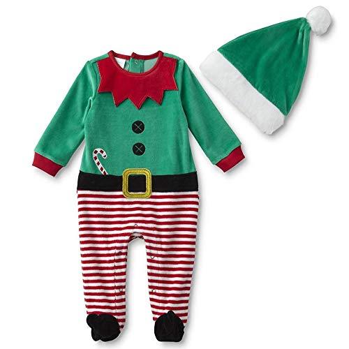 Deluxe 2 Teiliger Baby Elfen Anzug Strampler ~ Santas Kleiner Helfer an Weihnachten Gr. 56,62,68 Größe ()