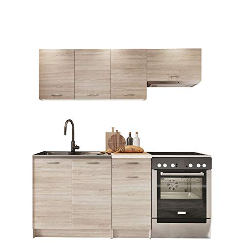 36 Cm Breit 5 Schubladen (Mirjan24 Küche Mela - Küchenblock/Küchenzeile, 5 Schrank-Module frei kombinierbar, Möbelplatte, Sonoma Eiche/Petra Beige, 29 x 80 x 56 cm)