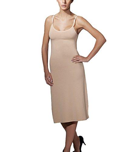 Doreanse Damen Unterkleid Midikleid Nachtkleid verstellbare Träger Soft Cotton Full Slip (44 - XXL, Haut) (Slip Baumwoll-slip-full)