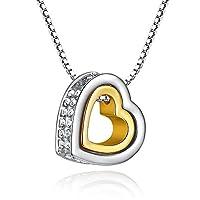 GoSparking Clear Crystal Doppel-Herz- 18K Rose / Weißgold überzogene Legierungs -Anhänger-Halskette mit österreichischen Kristall für Frauen