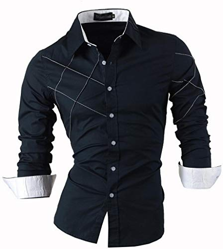 Jeansian uomo camicie maniche lunghe moda men shirts slim fit causal long sleves fashion 2028 navy m