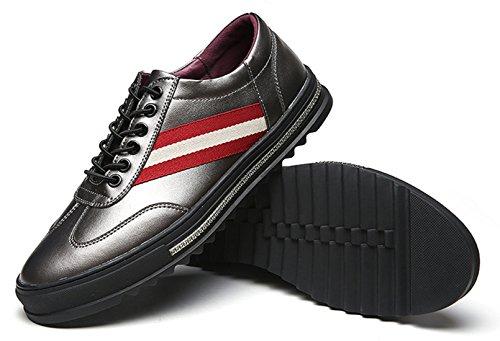 DADAWEN Homme Ruban Ligne Leather Chaussure Argenté