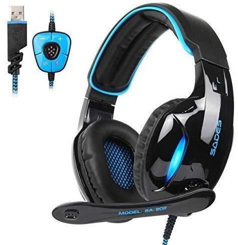 SADES SA902 7.1 Channel Virtual USB Gaming Headset Surround Stereo Wired Over Ear Gaming Headphone with Mic Revolution Volume Control Noise Canceling LED Light for PC/MAC/Laptop/Computer(Black/Blue) -