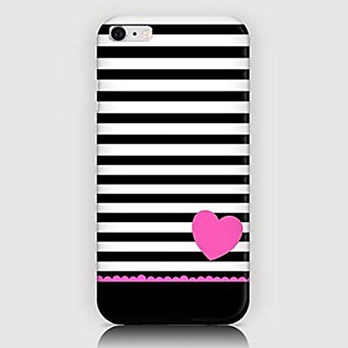 Inonler Schöne schwarze Streifen und das Geschenk des Paares der Liebe hülle(iPhone 6/6S,Pink) (Anime Weiß Schwarz Und Paare)