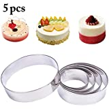 Outgeek 5PCS Cake Ring Assorted Size Stainless Steel Cake Mold Pastry Ring For Baking