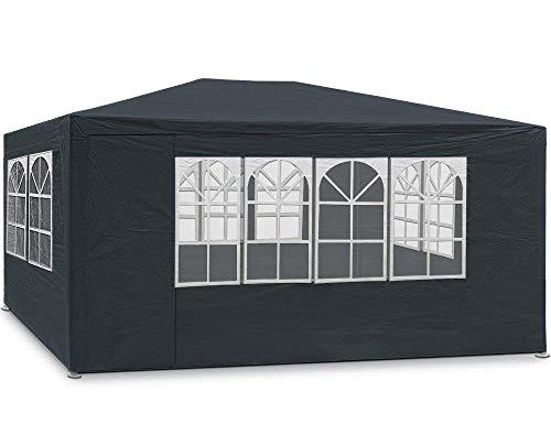 MaxxGarden Festzelt 3x4m Anthrazit | 12m² Pavillon mit 4 aufrollbaren Seitenwänden | wasserabweisend | UV-Schutz 50 + | Farbauswahl