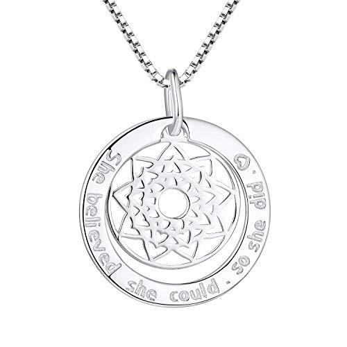FJ Kette Silber 925 Mandala Anhänger Inspiration Mantra Kreis Halskette für Damen -