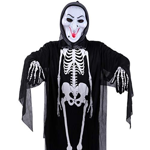 Ghost Erwachsene Cape Black Kostüm Für - LGP Halloween Horror Black Skeleton Ghost Erwachsene Cosplay Ghost Party Tod Teufel Hölle Weiß Ghost Kostüm Einschließlich Skeleton Kleidung, Maske, Stoffhandschuhe,Blackd