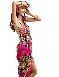 Da.Wa Traje de Baño de las Mujeres Cubrir el Vestido Romántico Bohemio, Traje de Baño de Playa Floral Bikini de Encubrimiento