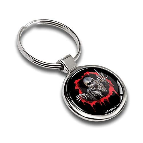Schlüsselanhänger Metall Keyring Autoschlüssel Geschenk Metall-Schlüsselanhänger Schlüsselbund Edelstahl Schädel Totenkopf Skull Emblem, KK 162