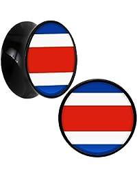 ce5a591056da Negro Acrílico Costa Rica Bandera Dilatador Par 18mm