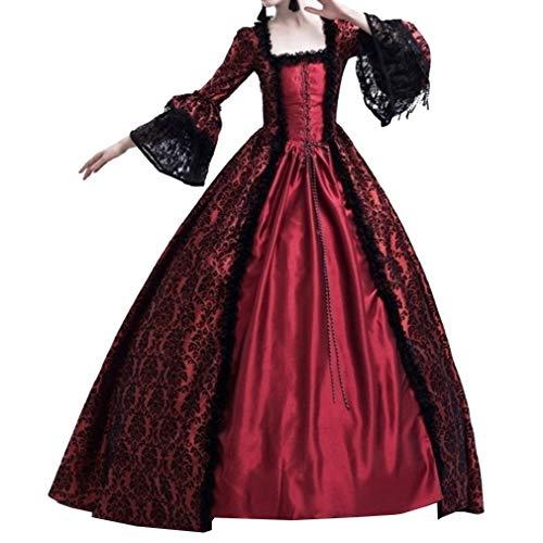Hongxin Damen Kleider Luxuriös Rüschen Schnüren Aufflackern Hülsen Karneval Kostüm Frauen Gothic Palast Königin Vampir Cosplay Kostüme
