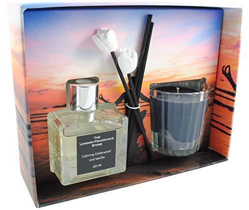 THE LONDON FRAGRANCE STORE - Entspannung - Luxus Duft Kerze + Reed Diffusor - Hochwertige Duftöle - Ruheoase aus Zedernholz und Vanille - Unser Wachs Hält Länger - Baumwolldocht -