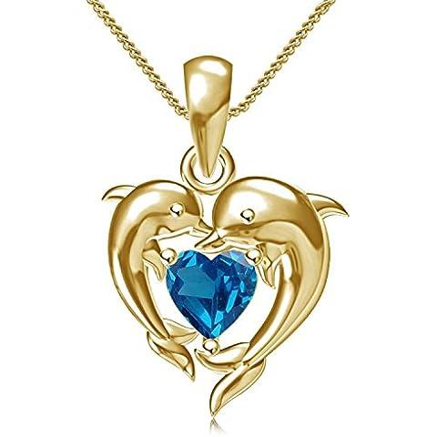 Vorra Fashion argento sterling 925pietra di cristallo a forma di cuore placcato oro 14K Delfino Stile Ciondolo Con Catena - Placcato Ciondolo Delfino