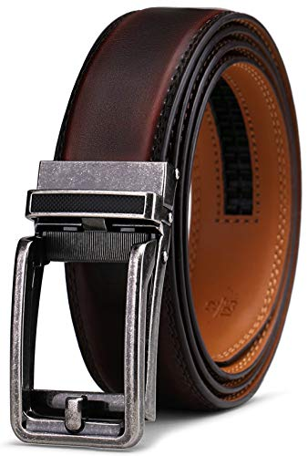 BULLIANT Mens leather belt ratchet strap, men with Click buckle, Trim for exact fit