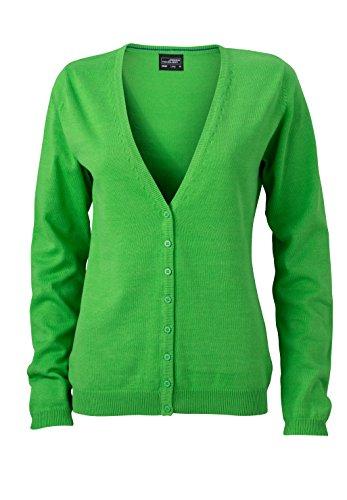 James & Nicholson Damen V-Neck Cardigan Strickjacke, Grün (Green), 40 (Herstellergröße: XL) -
