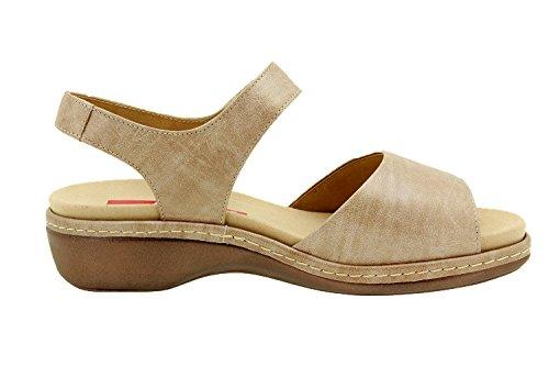 Komfort Damenlederschuh Piesanto 8801 sandale klettverschluss herausnehmbaren einlegesohlen bequem breit Beige (Visón)