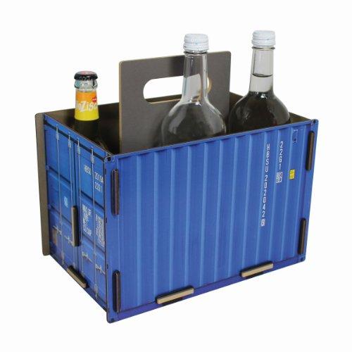 werkhaus - Flaschenträger Sixpack in Container-Optik, blau (CO1501)