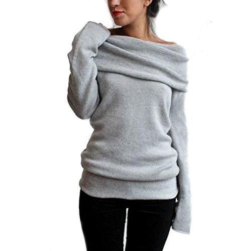 AMUSTER Donna Manica Lunga Grigio Felpa Revers Larghi Camicia Pullover Di Maglia Cappotto (L)