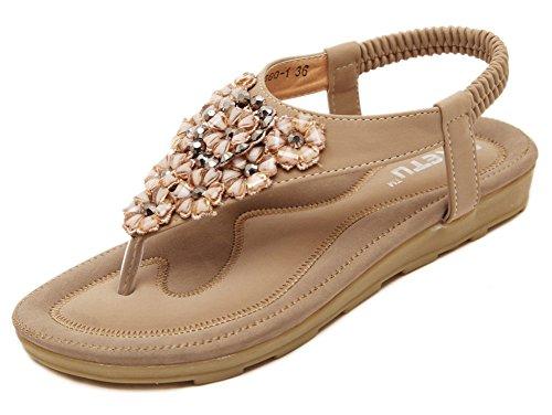 Fortuning's JDS Comfort ammortizzata sandali cinturino alla caviglia elastico delle donne albicocca