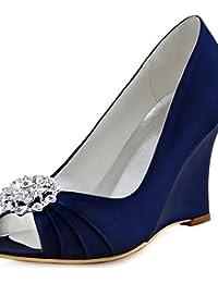 Ggx femme Chaussures en satin stretch Printemps automne cales talons Mariage robe  Talon 0caeefdf5859