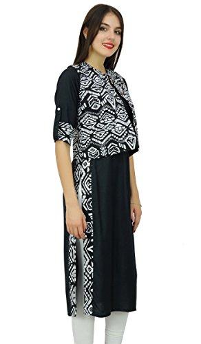 Bimba schwarze gerade Damen mit gedrucktem Jacke Kurti Tunika Lässige Kleidung Schwarz